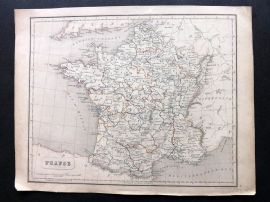 Chambers 1846 Antique Map. France in Provinces